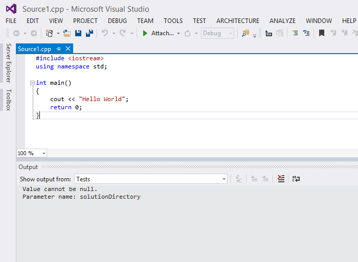 c++ hello world visual studio