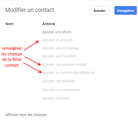 afficher mes contacts gmail