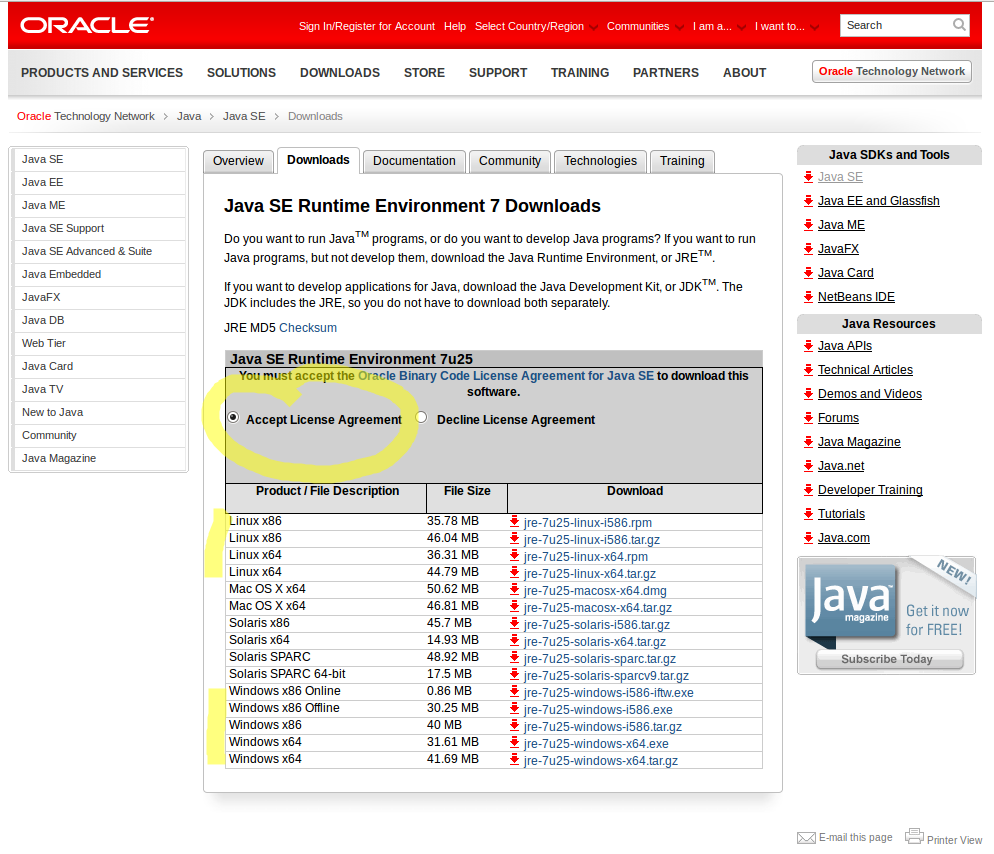 java oracle 64